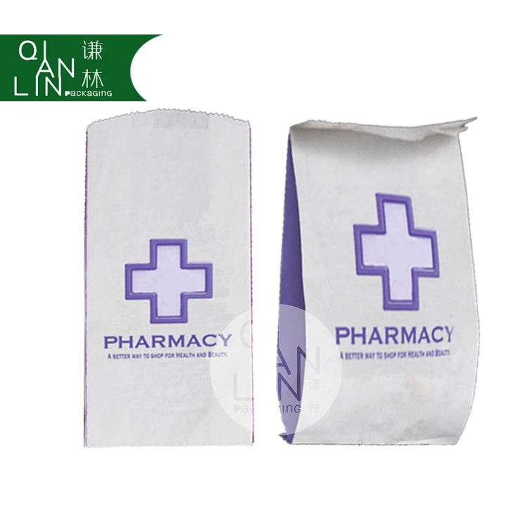 Environmental Pharmacy Paper Bags with kraft paper material