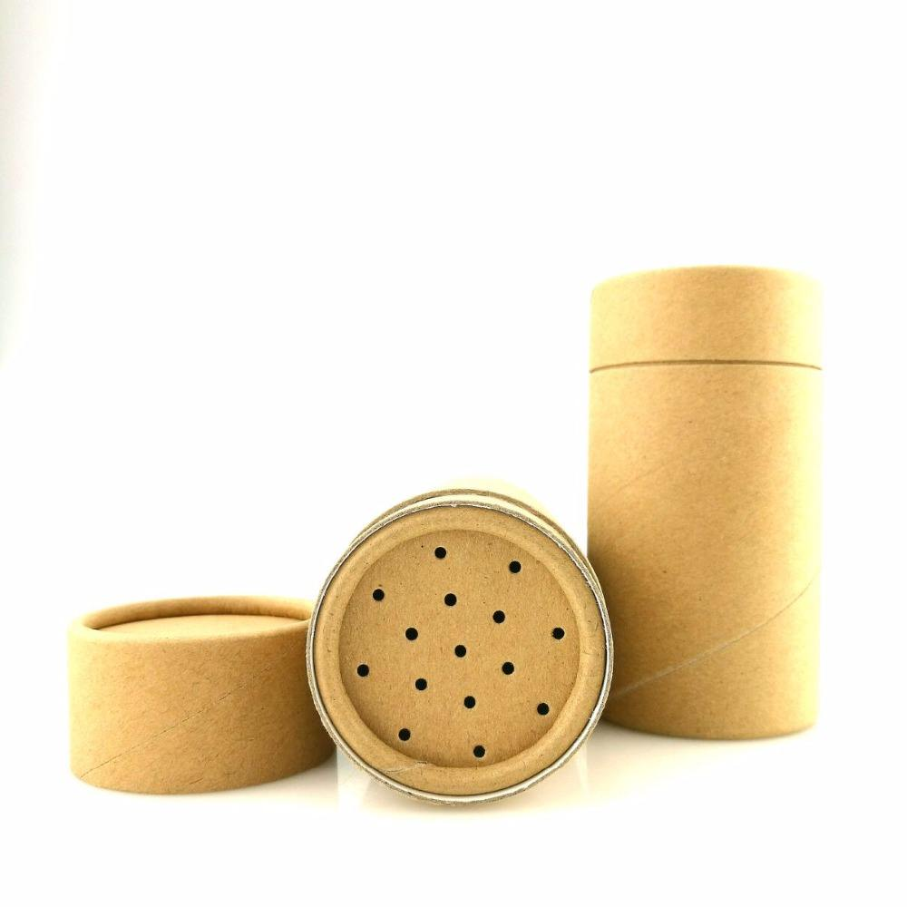 eco friendly spice packaging cylinder paper packaging box with sifter