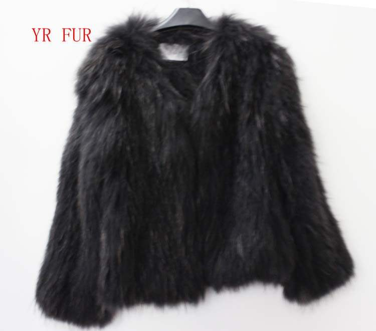 YRC583 High quality Real Knit Raccoon Fur coat For Garment Women's Fur Outwear