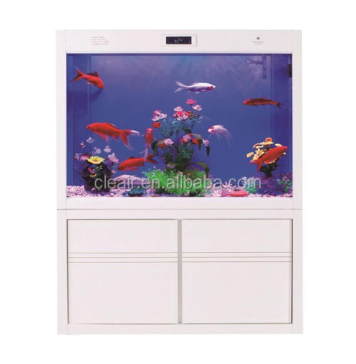 Elegant Cleair Glass Wall Aquarium MAZH900 with LCD and Acrylic decoration