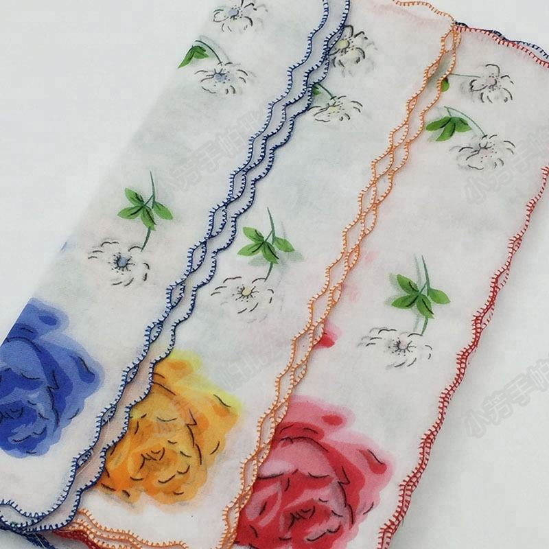 wholesale flower handkerchief polyester low price