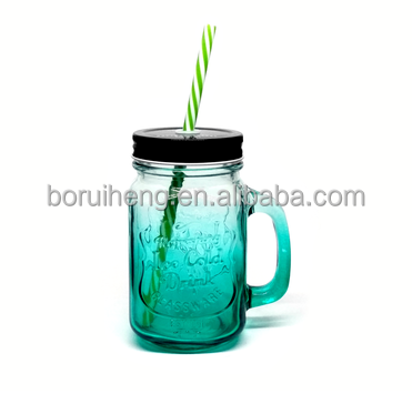 wholesale colored glass mason jar with metal lid