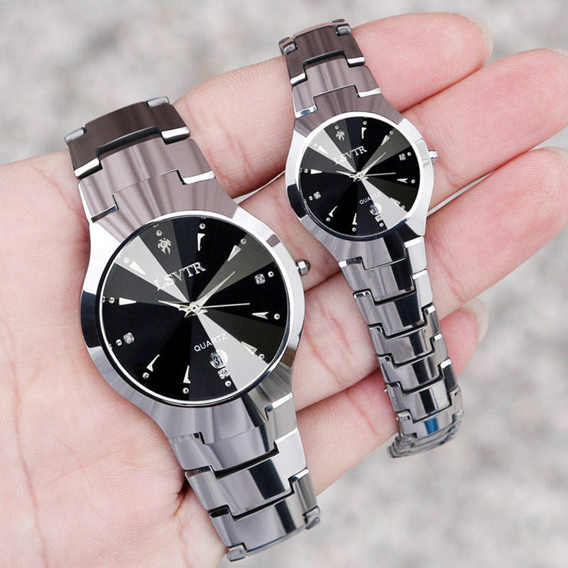 2019 quartz stainless steel table stainless steel chain black color wrist couple watch black