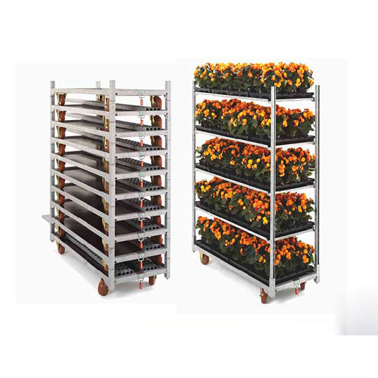 hot sale plant transport storage metal cage trolley cart for greenhouse