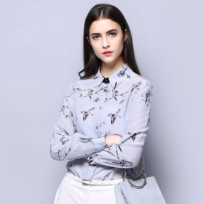 2020 autumn long sleeve silk blouse women high quality floral printing silk shirts
