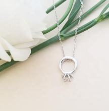 Delicate Pendant Ring Jewelry Silver Plated Charm Gift For Her Minimal Prong Ring Zircon Circle Necklace