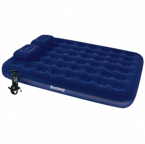 "Bestway 67374 80"" x 60"" x 8.5"" Queen size inflatable Flocked Airbed Air Mattress with Pillows"