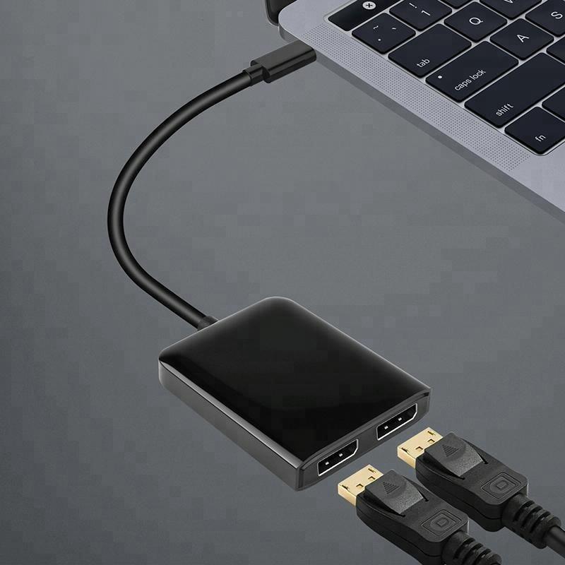 C 형 USB C 남성 DP 여성 4 천개 30 헤르쯔 USB C DP 스위치 허브