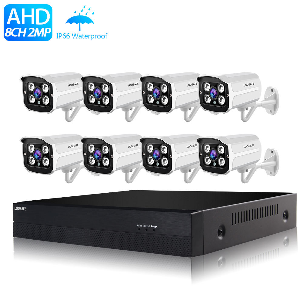 Rumah Sistem Kamera Keamanan HD 1080 P AHD CCTV 8 Channel Video DVR Kit