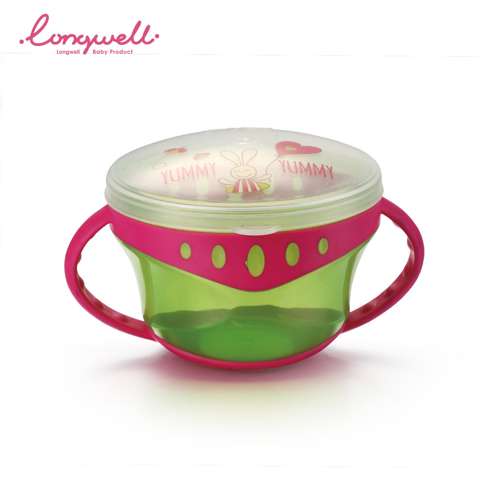 Ningbo Longwell OEM/ODM Baby Feeding Bowl PP Safe SGS Handle PP With Lid Outdoor for Kids Snack Bowls Non Spill Wholesale Custom