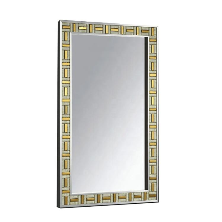 Stainless Steel Frame Rectangle Glass Luxury Wall Mosaic Mirror