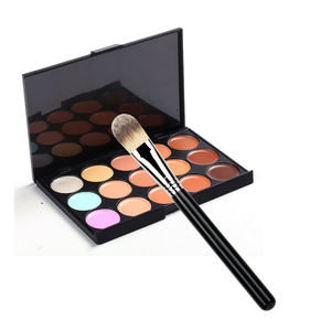 hot seller 15colour concealer palette with 1pcs bright silver foundation brush make-up combination