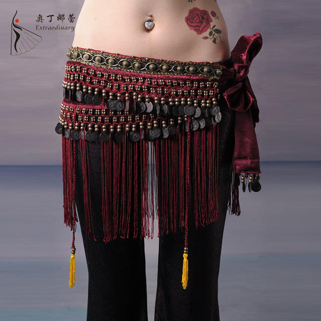 Hot Belly Dance Hip Scarf Tribal Fringe Tassel Belt Chiffon Gold Coins Black
