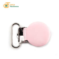 Safety wearing metal pink plated baby pacifier Suspender Clip with plastic
