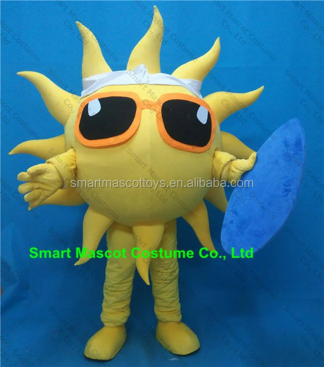 Giant walking plush sun costume for adult wear with clear visual adult sun costume