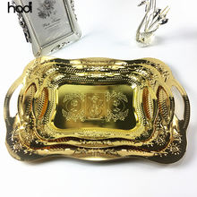 Restaurant supplies catering new arrive luxury stainless arab gold serving tray with handle