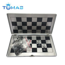 Portable foldable aluminum magnetic chess board game international chess set for party family activities