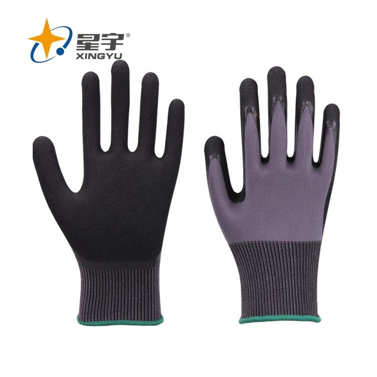 Rubber Gloves Xingyu Nylon Spandex Nitrile Sandy Black Gloves Heavy Duty Rubber Gloves
