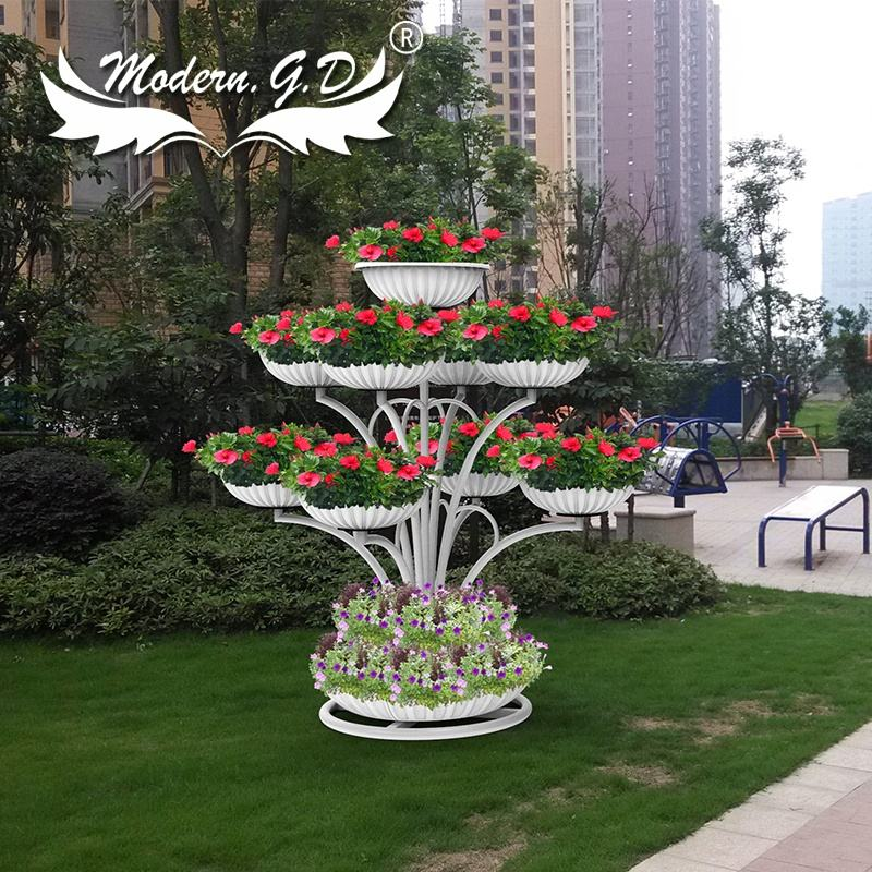 Custom outdoor stainless steel sculpture iron frame pots