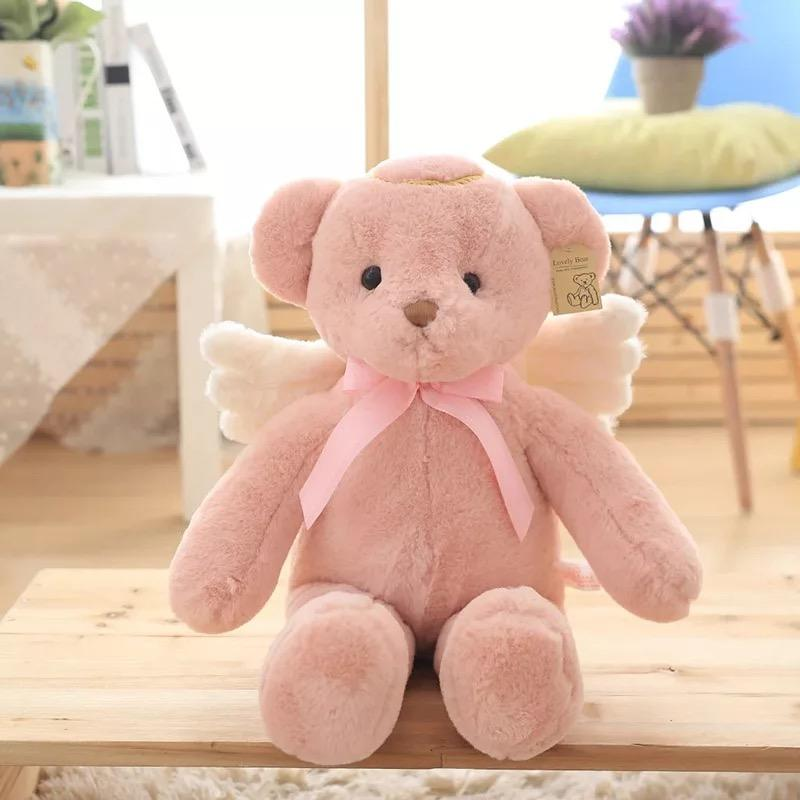 In stock angel teddy bear plush toy stuffed soft bear with wing baby toy