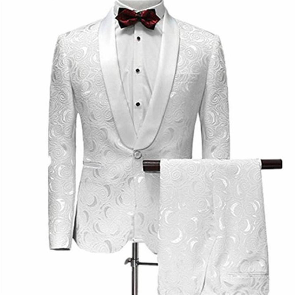 Latest Casual White Pattern Slim Fit Men Wedding Suits