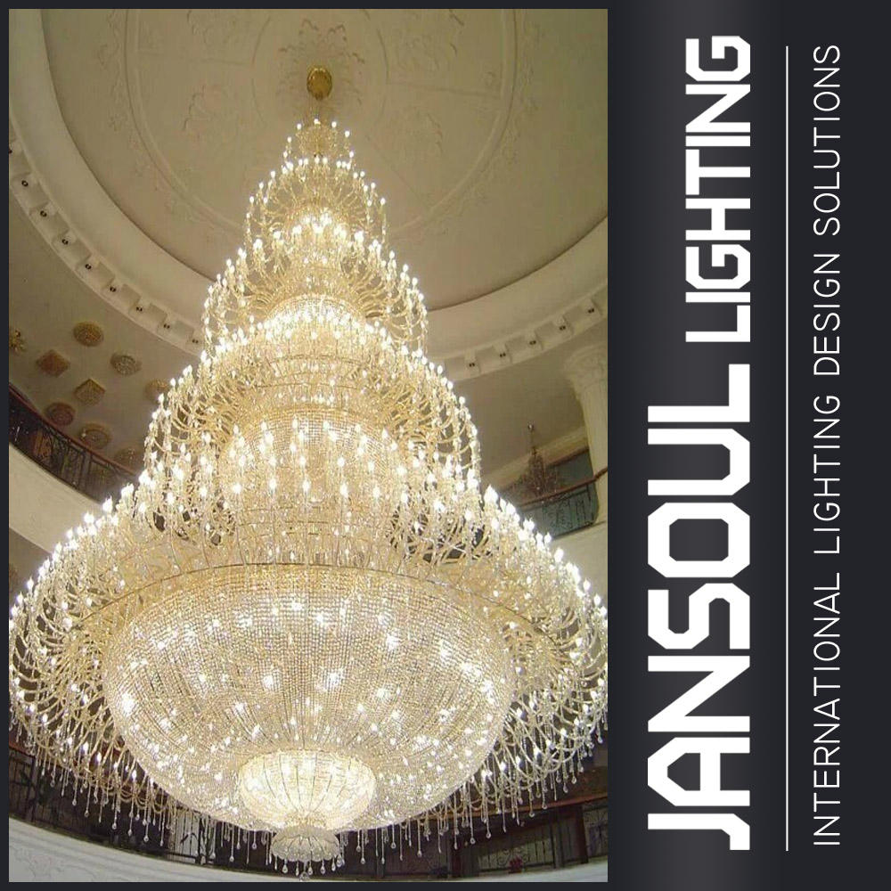 Traditional most luxury giant hotel lobby hall crystal chandelier