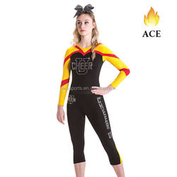Customized Cheerleading Training Set ,Cheerleading Uniforms With Rhinestones,Long Sleeve Top And Capris