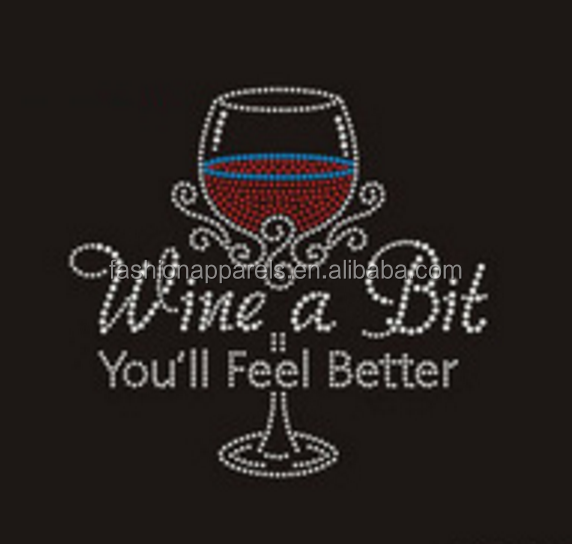 Wholesale iron on wine rhinestone transfers hotfix motif