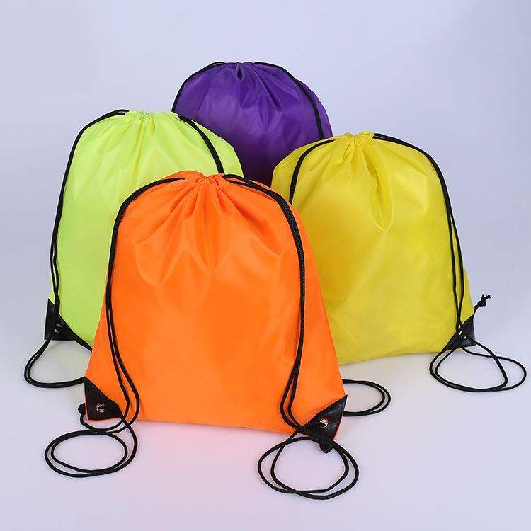 recycle silk printing promotion polyester drawstring backpack bag