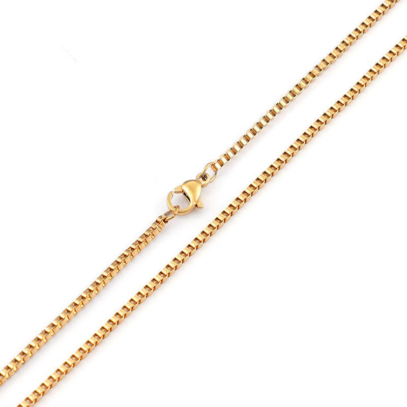 Fashion Personalized Gold Chain Design Charm Necklace 2MM Box Chain Necklace