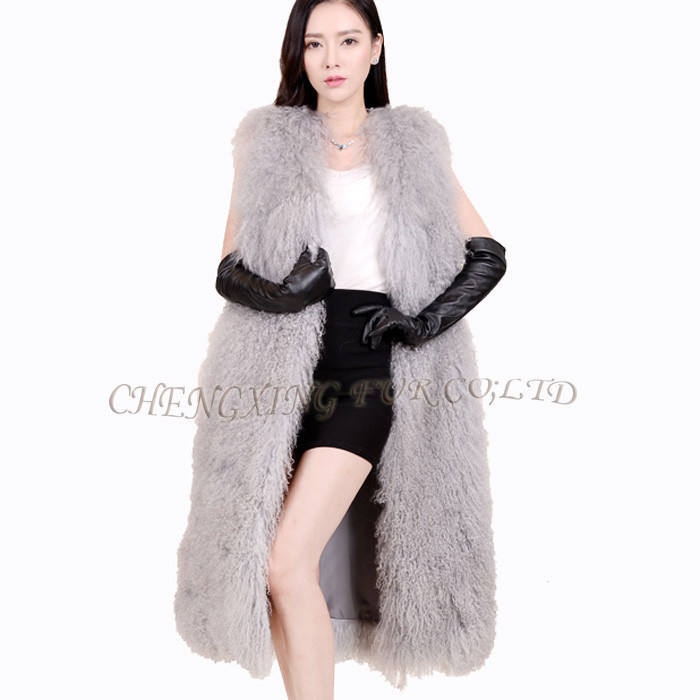 CX-G-B-127A Wholesale OEM Fur Vest Genuine Mongolian Lamb Fur Vest Waistcoat Costume