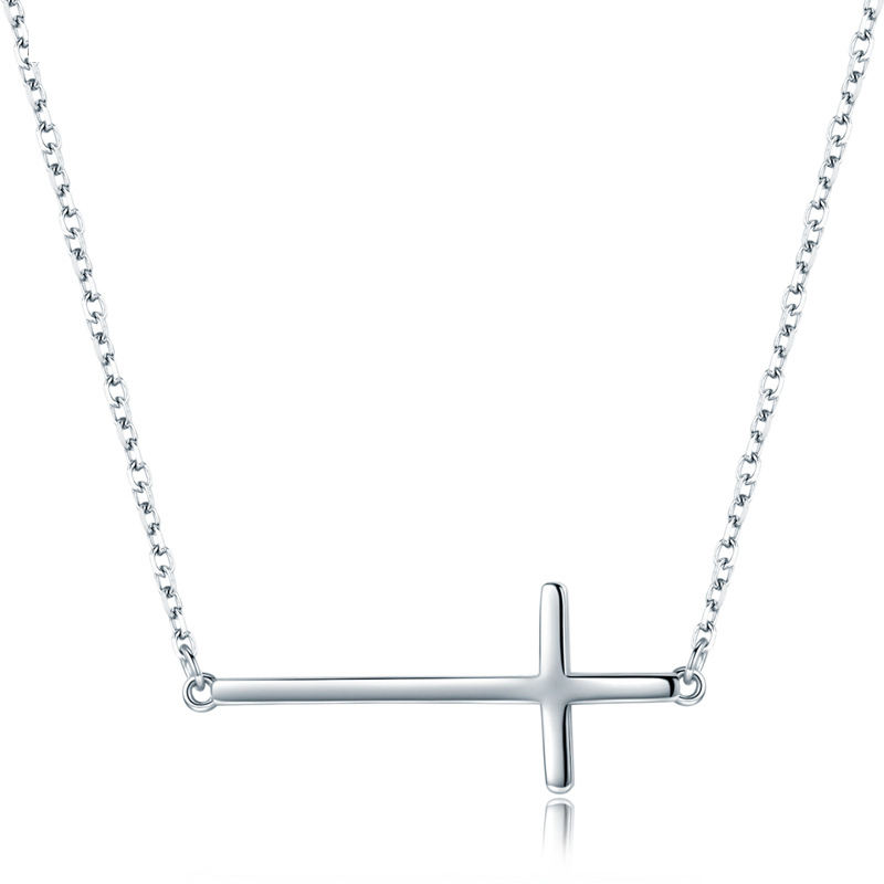Professional Jewelry Factory Tiny Sideway Cross Jewelry 925 Sterling Silver Fashion Necklace for Gift