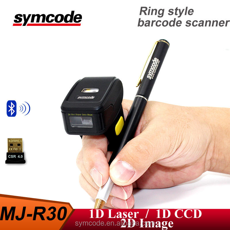 Symcode MJ-R30 Bluetooth inalámbrico dedo Barcode scanner ios android gana tipo anillo Barcode Scanner