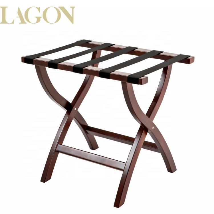 Guangzhou Manufacture Folding Hotel Solid Wooden Luggage Rack for Suitcases