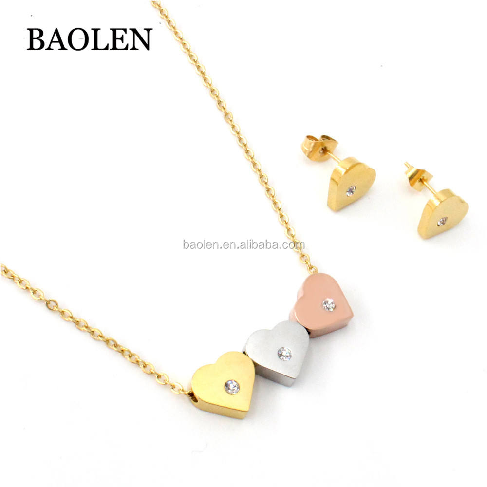 Christmas Gift Jewelry Mixed Color Heart Silver Gold Rose Pendant Bridal Necklace Earrings Jewelry Sets Manufacture