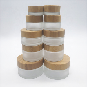 Round bamboo lid wide mouth glass jar cosmetic jar