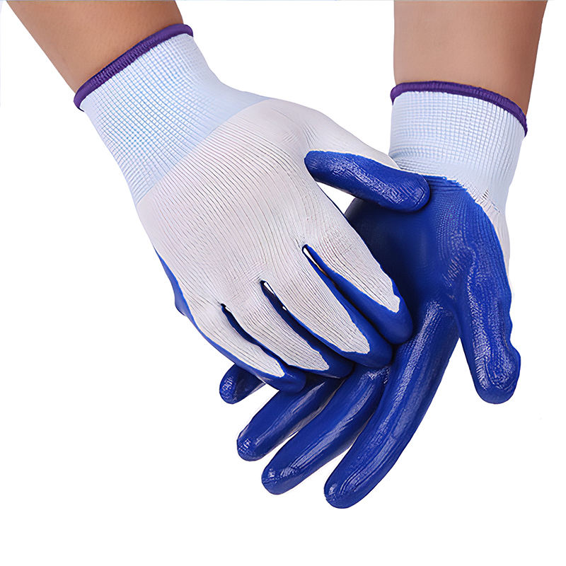Green Dark Blue Colorful Esd Nitrile Rubber Coated Cotton Mitten Gloves Importers