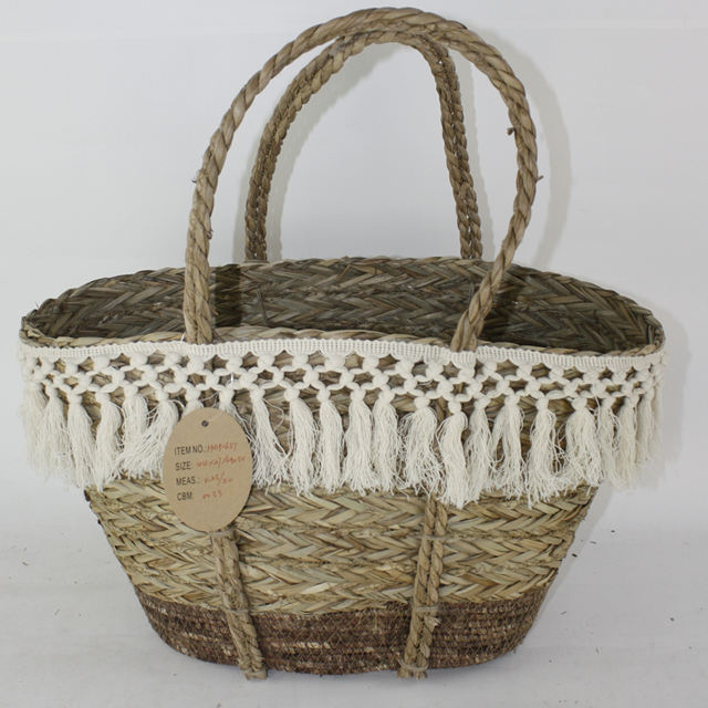 woven natural beach basket bag with handle