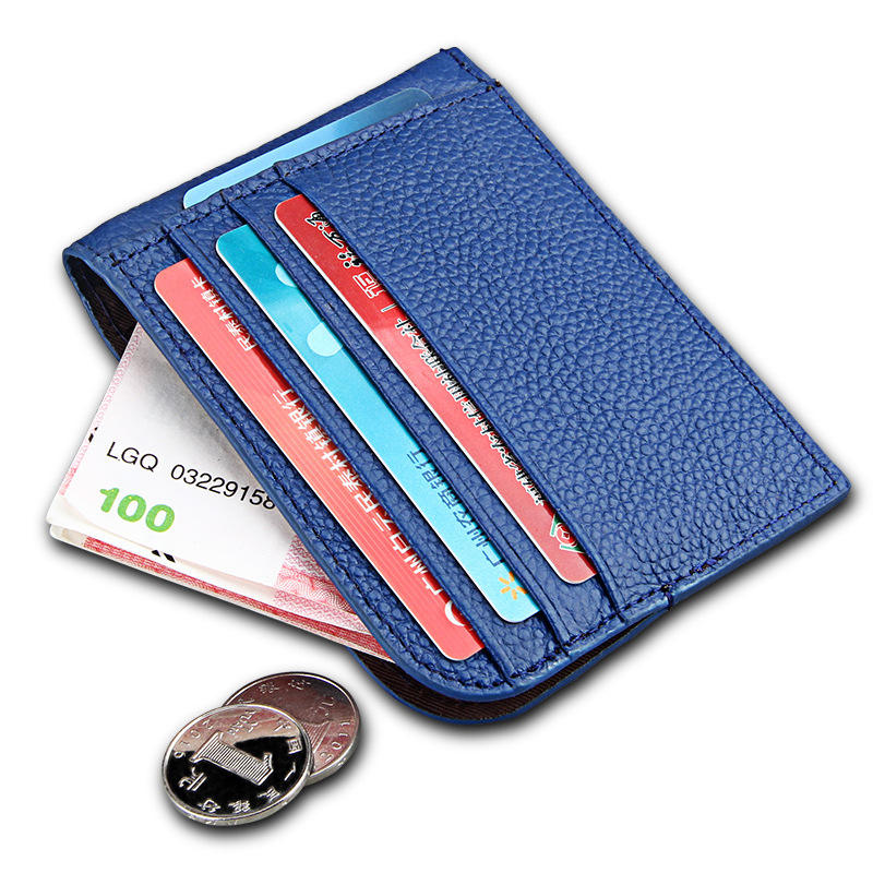 Slim Men Women Mini Pocket Business Card Holder 도매 Genuine Leather Card Sleeve