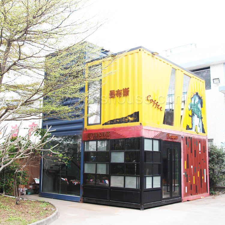 Hot sales Movable 10ft 20 feet container artificial modular prefabricated container coffee shop