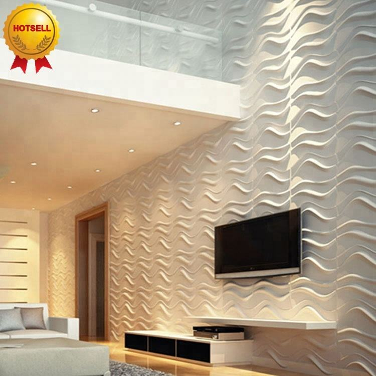 Modern 3D pvc board decorative wall panel clading wallpaper with fireproof and water proof for bathroom decoration