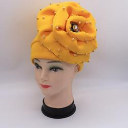A622 Hot sale fashion style headwraps african women beads turban