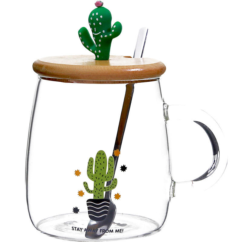 Zogift High quality reusable crystal clear cup cute creative cactus shape glass coffee mug with stainless steel spoon bamboo lid