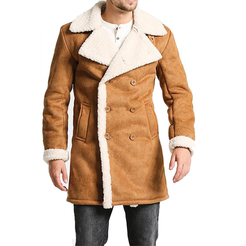Custom Suede Casual Outwear Men Winter Faux Fur Jacket