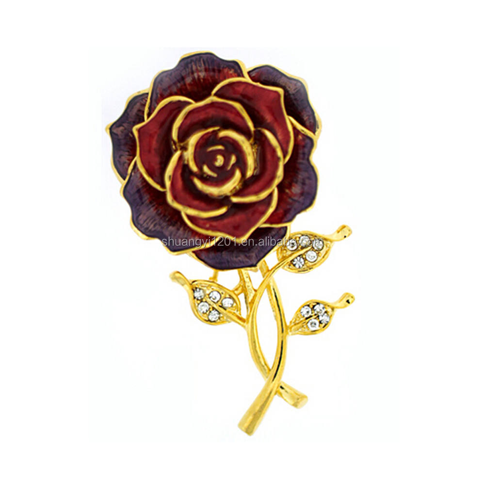 Wholesale Zinc Alloy Gold Plated Red Purple Enamel Clear Crystal Rose Flower Brooch