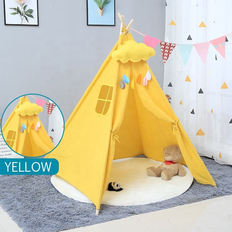 Indoor Solid Wood Kids Play Tent Indian Teepee Tent
