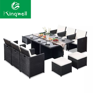 Modern rattan dining table set 6 chairs garden furniture