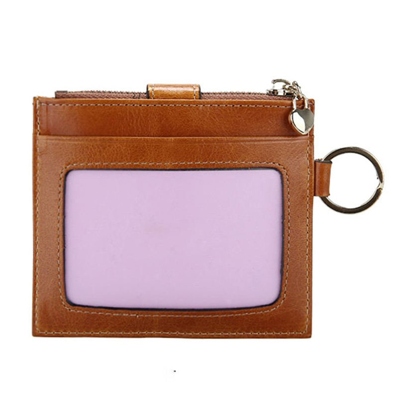 Women's Card Case RFID Card Holder With ID Window And Keyring Minimalist Slim Soft Leather Wallet