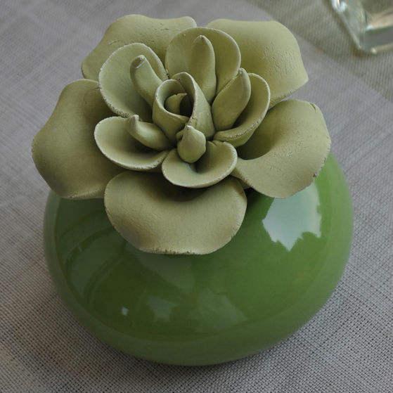 Verde de la serie de cerámica <span class=keywords><strong>aroma</strong></span> rosa flor de aceite difusor con 30/100ml perfumrets- cd20