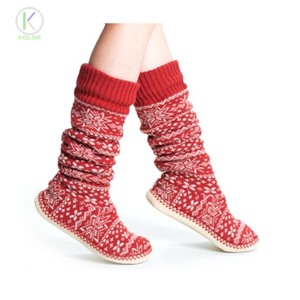 KOLOR-III-1143 slipper socks with rubber sole for adults slipper socks with rubber sole fashionable knitted floor socks